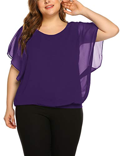 IN'VOLAND Plus Size Women Chiffon Blouse Batwing Sleeve Tops Scoop Neck Tunic Shirts Purple