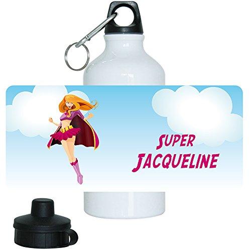 Trinkflasche mit Namen Jacqueline und schönem Superheldin-Motiv für Mädchen