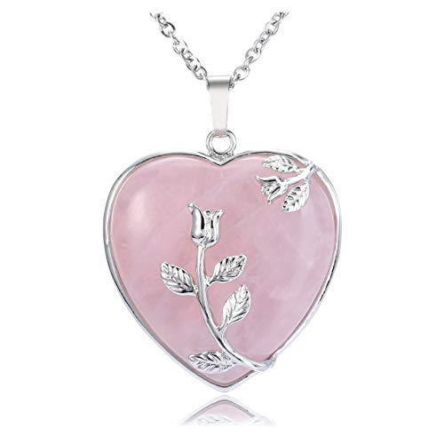 CrystalTears Rose Quartz Crystal Necklace Flower Wire Wrapped Heart Crystal Stone Pendant Natural Reiki Healing Crystal Gemstone Necklace Jewelry for Women Girls