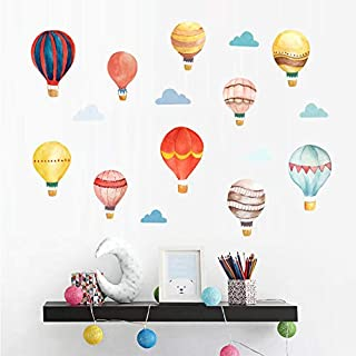 Hot Air Balloon Wall Decals, H2MTOOL Removable Watercolor Cloud Wall Stickers for Kids Room Decorations (Hot Air Balloon)