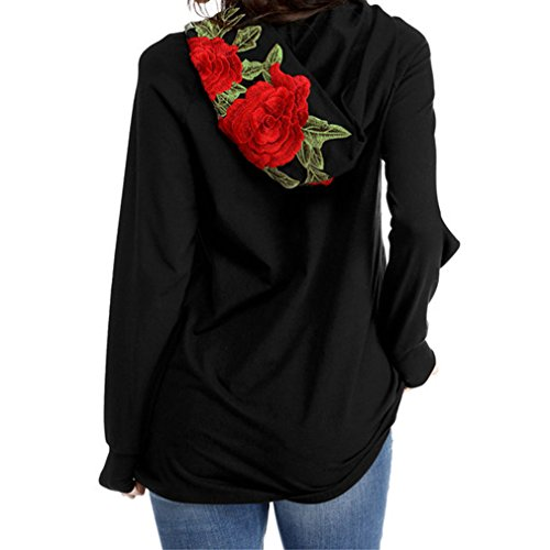Guiran Femme Pull Over Casual Shirt Top Manches Longues Pull Hoodie Impression de Rose Noir X-Large
