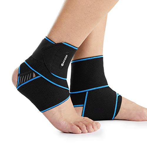 AVIDDA Ankle Supports 2 Pack - Adjustable Ankle Brace Compression Ankle Wrap Strap for Sprained...
