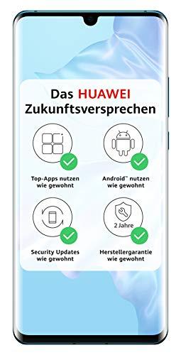 HUAWEI P30 Pro Dual SIM Smartphone Bundle (16,434 cm (6.47 Zoll), 128GB interner Speicher, 8GB RAM, 40MP + 20MP + 8MP Hauptkamera, 32MP Frontkamera, Android 9.0, EMUI 9.1) Mystic Blue