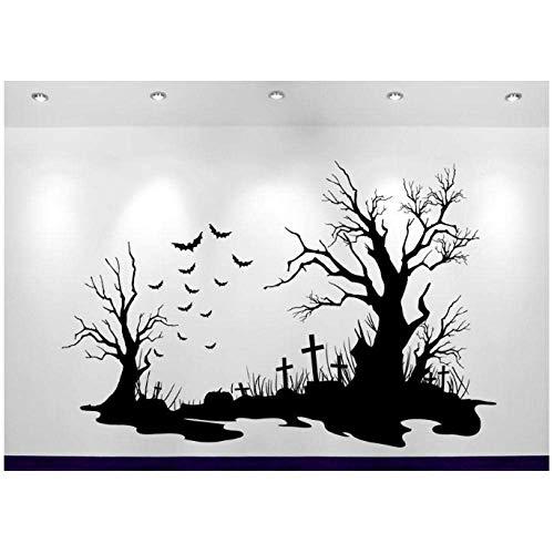 Calcomanía De Escena De Cementerio De Halloween Decoración Del Hogar Pegatina De Pared Sofá Decoración De Fondo Adesivo De Parede Calcomanía Cartel 84X56Cm