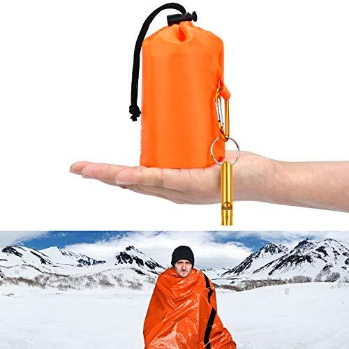 KATELUO Notfall Überleben Schlafsack,biwaksack,Biwaksack Survival Schlafsack warm Outdoor, Decken-Taschen mit Überlebenspfeife, Ultraleicht und wasserdicht, für Outdoor-Aktivitäten,Camping (Orange)