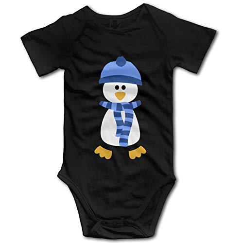 Lindo Pingüino Azul Bastón De Caramelo Bebé Ropa De Manga Corta Babysuit Divertido Unisex Chaleco Recién Nacido Mameluco