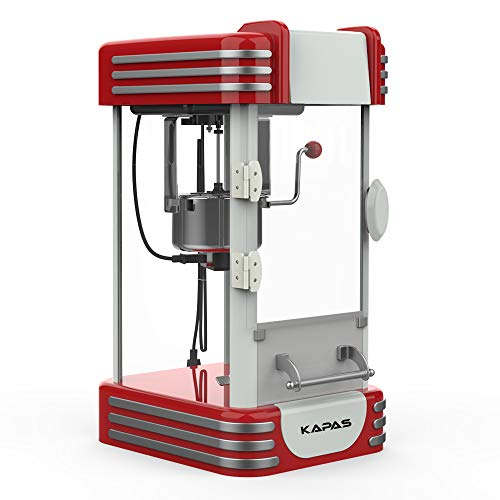 KAPAS Popcorn Machine, Red Tabletop Popcorn Popper Maker with Accessories