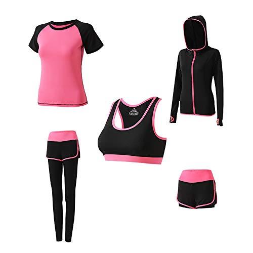 Ropa de yoga para mujer, conjunto de 5 piezas de ropa deportiva...