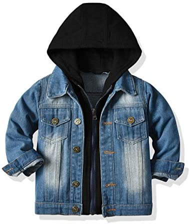 Baby Boys Girls Denim Jacket Kids Toddler Button Down Jeans Jacket Top Coat Outerwear Hoodie product image