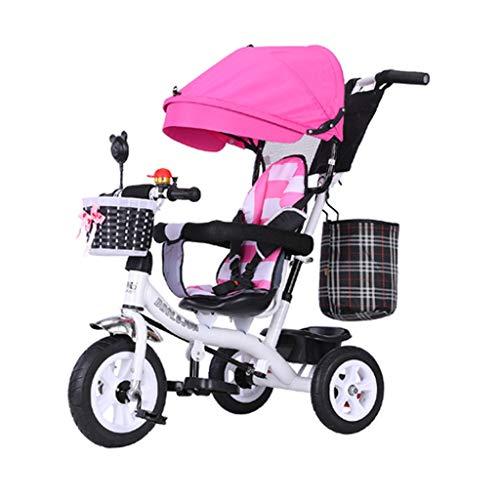 GYF Triciclo, cochecito plegable para niños con asiento giratorio, mango ajustable y toldo extraíble