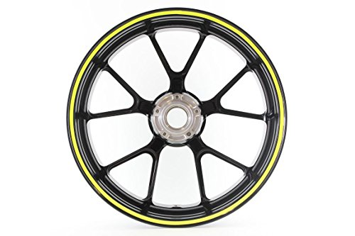 Curved Wheel Rim Striping Stickers / Decals Tape roll with applicator for Motorcycles (& Car) Fits 20' Wheel - 5mm - Fluorescent Yellow (2189-034)