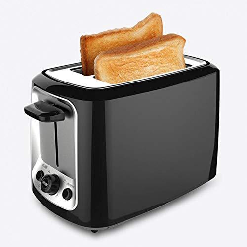 Kitchen - Tostadora con 2 rebanadas (ranura larga, 850 W, función de calentamiento/descongelación, incluye bandeja recogemigas), color negro