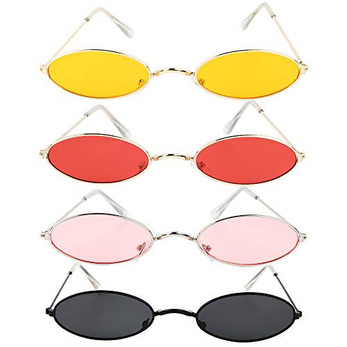 4 Paar Oval Brille Partybrillen Set Retro Brille Vintage Kleine Brille Damen Herren für Party Foto Requisiten Kostüm Club Tanz Props
