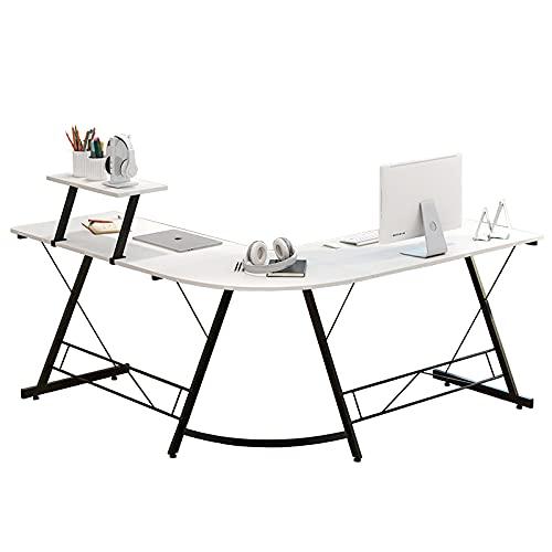Escritorio en forma de L, escritorio para computadora de oficina en casa con un pequeño estante de escritorio, escritorio para estación de trabajo, estación de trabajo para juegos con soporte para m