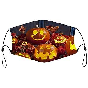 Maschera per Halloween, lavabile, in tessuto, riutilizzabile, antipolvere, unisex, traspirante, grande maschera, per uomini e donne, 5 pezzi