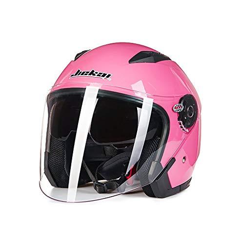 Folconauto Casco Moto, Casco Abierto para Moto Jet Crash - Rosa (L)
