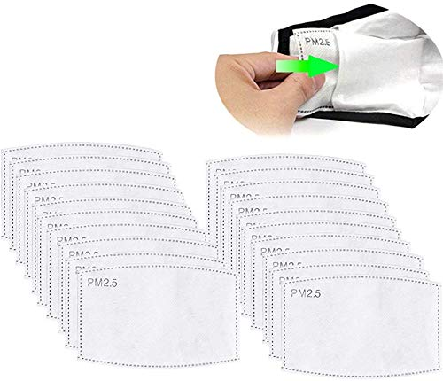 50 unidades PM2.5 Filtros de carbón activado 5 capas reemplazables de papel de filtro antiniebla