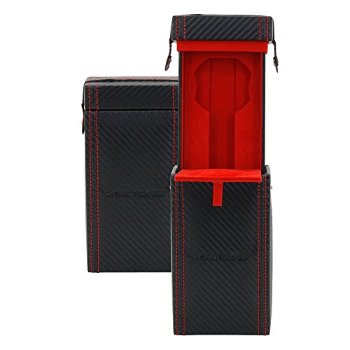 Friedrich|23 Etui de montre Homme en Cuir Synthétique Noir/Rouge, 330 Grammes
