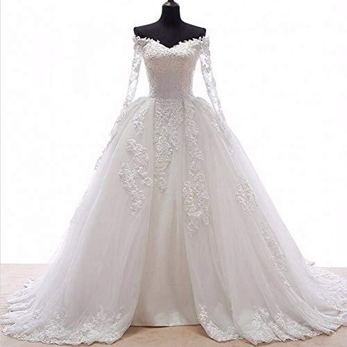 KUANGQIANWEI Hochzeitskleid aus Spitze Romantische Ballkleid Brautkleid mit Langen Ärmeln Applikationen vorne offen Röcke Falten Brautkleider hochzeitskleid in weiß (Color : Champagne, US Size : 24W)