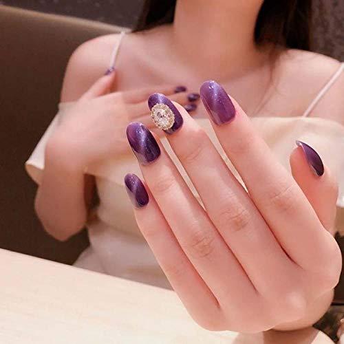 24 pcs Mode Pleine Couverture Faux Ongles avec Ins Style Wearable Violet Faux Ongles Glitter Cat Eye avec Strass Brillant appuyez sur