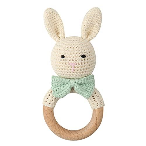 YOURPAI Anillo de mordedor de Madera para bebé DIY Crochet Bunny Sonajero Chupete Pulsera Dentición MolarMYQ288