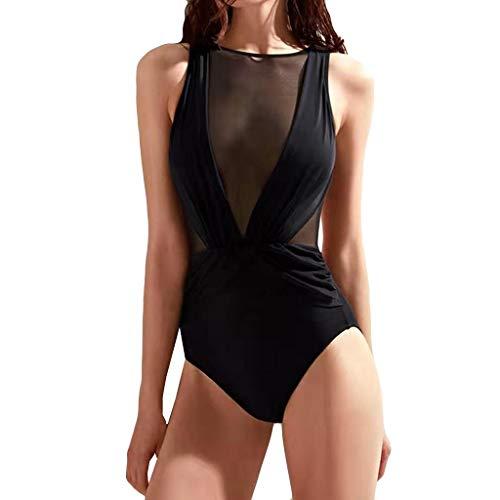 Scenxion - Mono de natación para mujer de una sola pieza, sexy, con cuello en V, sexy y sin espalda Negro Cblack M