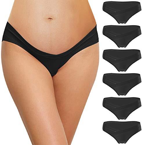 Voqeen 6er Pack Unterhosen für Schwangere Unterwäsche aus Baumwolle Schwangerschaft Umstandsmode Höschen Damen Mutterschaft Umstandsslips Schwangerschaftsslip Niedrige Taille V-foermigen