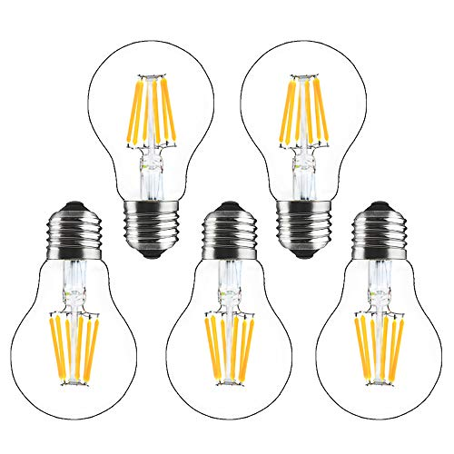 Bonlux 5-Pack 8W E27 A60 Lampadina a Filamento LED Dimmerabile Bianco Calda 2700K Vintage Edison Vetro Lampada, Equivalenti a 60-80W Incandescenza Lampadina per Soggiorno Rristorante Camera da Letto