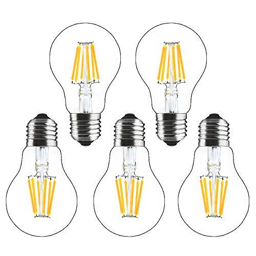 Bonlux 5-Pack 8W E27 A60 Lampadina a Filamento LED Dimmerabile Bianco Calda 2700K,Vintage Edison Vetro Lampada, Equivalenti a 70W Incandescenza Lampadina per Soggiorno Rristorante Camera da Letto