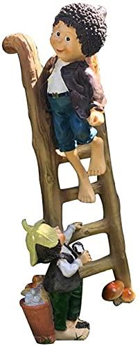 LIUBINGER Escultura Escultura Gente Resina Escalada Boy's Fairy Garden Decoración Creativa Adorno TELEVISOR Gabinete de Escritorio Manualidades