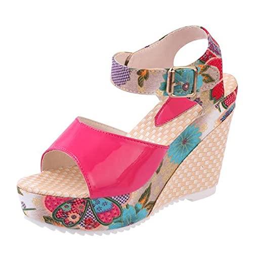 Sandalias de Mujer Plataforma de Verano Cuñas Zapatos Casuales Mujer Tacones Altos Florales Diapositivas de Punta Abierta Zapatillas Sandalias Rojas