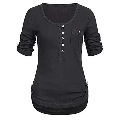 IMJONO Bluse Damen Langarm Chiffon V- Ausschnitt Oberteile Hemd Freizeit Tunika Ärmel Verstellbar Tops(EU-40/CN-XL,Schwarz)