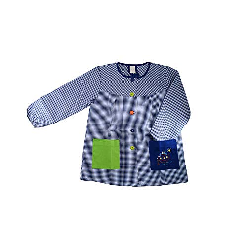 Kiz Kiz Bata Escolar Infantil Baby Infantil de Cuadros Pequeños (Azul, 1 año)