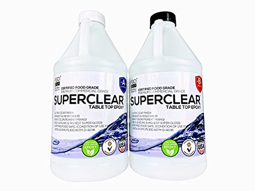 FGCI Superclear Premium Amazing Clear Cast Epoxy Pourable Resin kit, Epoxy for Wood Tables, Concrete Countertop Sealers, Orgone, Epoxy Resin Molds - 1 Gallon, 2 Part Epoxy Resin Kit