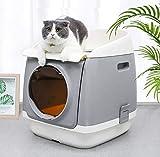 FXQ Einfache und saubere selbstreinigende Katzentoilette, tragbare große automatische Katzentoilette, spritzwassergeschützte Katzentoilette 2-lagig, Doppeltür,Grau