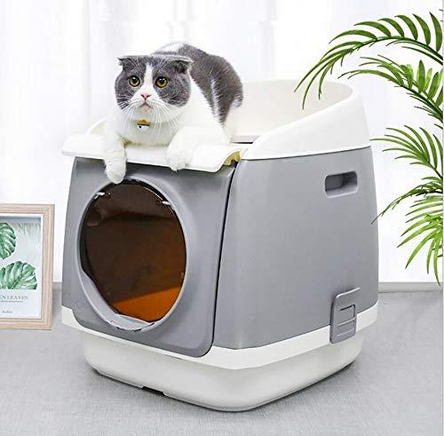 FXQ Einfache und saubere Katzentoilette, tragbare große automatische Katzentoilette, spritzwassergeschützte Katzentoilette 2-lagig, Doppeltür,Grau