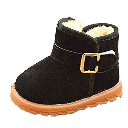 KUDICO Mädchen Jungen Baby Stiefel Winter Warme Plüsch Gefüttert Warm Hüttenschuhe Kuschelige Indoor Outdoor Pantoffeln Schuhe Schlupfstiefel (Schwarz, 26 EU/3-3.5 Jahre)