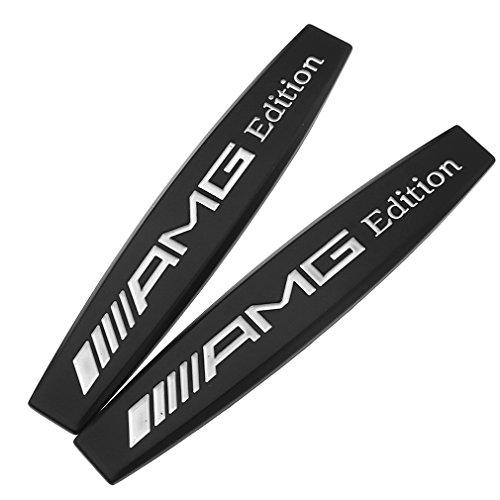 3D-Embleme AMG, Front-Embleme, Chrom, Schwarz, 2 Stück