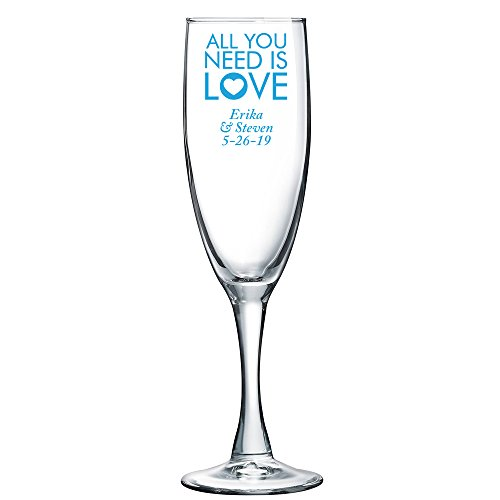 Personalized Color Printed Champagne Flute - All You Need Is Love - Blue - 144 pack
