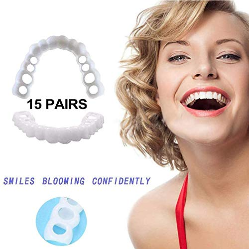 Heatile 15 Paare Provisorischer Zahnersatz Kosmetische Zähne Sicherer Ober Und Unterkiefer Silicone Simulated Teeth