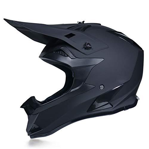 KAAM Casco de motocross, para adultos, con guantes/máscara/gafas, unisex, casco de moto de cross, casco de protección, ATV, para hombres y mujeres, casco de seguridad (negro, M)