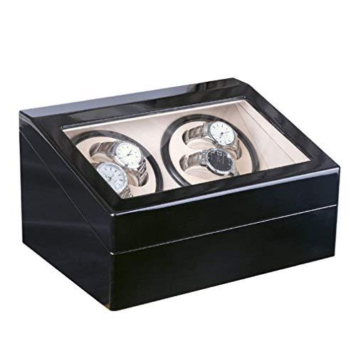 GUOCAO 4+6 automático mecánico negro caja de reloj de alta clase motor agitador de reloj de visualización de bobinador