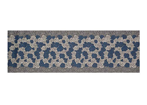 BIANCHERIAWEB Tappeto Passatoia in Tessuto Jacquard Linea Emozioni Disegno Roses Blu 57x140 Blu