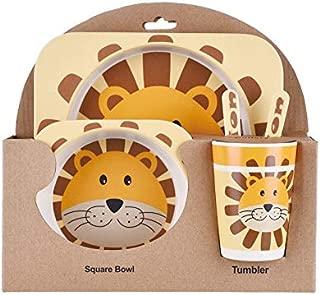 Kids Dish Set, Cute Animal Theme, 5 Pieces, Eco-Friendly