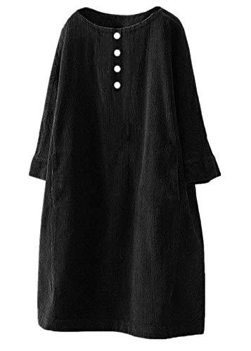 QingJiu Damen Einfarbig Cord Kleid Lose Rundhals Rock Vintage Button Tasche Übergröße Tops