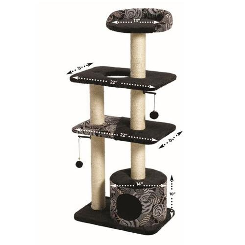 MidWest Homes for Pets Cat Tree | Tower Cat Furniture, 5-Tier Cat Tree w/Sisal Wrapped Support Scratching Posts & High Cat Look-Out Perch, Black/White Pattern, Large Cat Tree