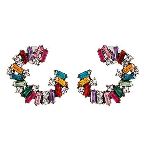 ESIVEL Orecchini Accessori di gioielleria di moda Orecchino Trendy CC Esagerato Lega di cristallo Baguette Cerchio in vetro Orecchini a polsino per ragazze Donna