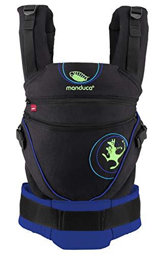 manduca XT Babytrage > Kanga AbsoluteBlue < Babytrage mit verstellbarem Steg, Exklusive Lizenz von Kangatraining, Bio-Baumwolle, für Babys und Kleinkinder von 3,5 bis 20kg (schwarz-blau)