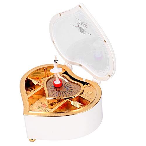 Shipenophy Decoración de Escritorio Caja de música magnética Adornos Caja de música Ballet de Baile en Forma de corazón para el hogar(YL2036 Peach Heart Medium*White)