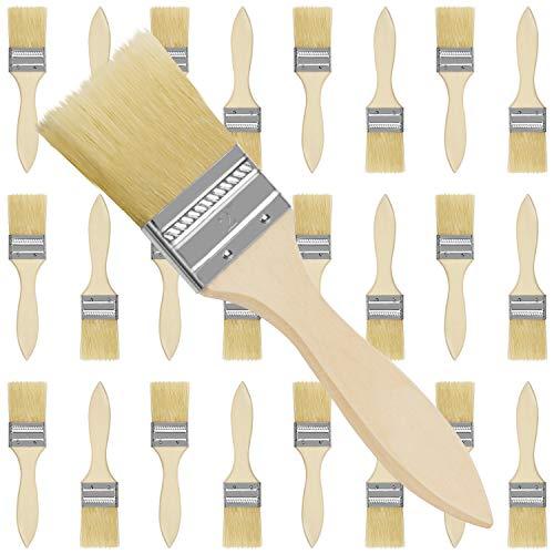 Kurtzy Brochas para Pintar 5,08 cm (Pack de 24) Set Brocha Plana Pintura de Madera Profesional para Pintar, Tintes, Barnices, Pegamentos y Bricolaje en el Hogar – Pack de Pincel Madera